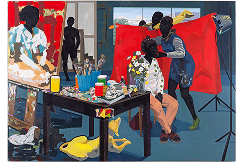 Kerry James Marshall, Untitled (Studio), 2014. Acrylic on PVC panel; 83 1/2 × 118 7/8 in. (211.9 × 301.8 cm). The Metropolitan Museum of Art, Purchase, The Jacques and Natasha Gelman Foundation Gift, Acquisitions Fund and The Metropolitan Museum of Art Multicultural Audience Development Initiative Gift, 2015 (2015.366) © Kerry James Marshall