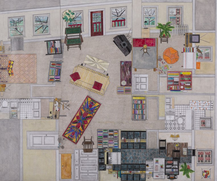 Ann Toebbe, First Apartment, 2016; graphite and colored pencil on paper, 22 by 26.25 inches.