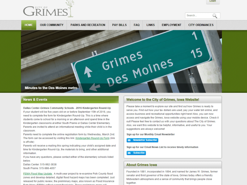 Grimes Iowa - Iowa DNN Evoq web development