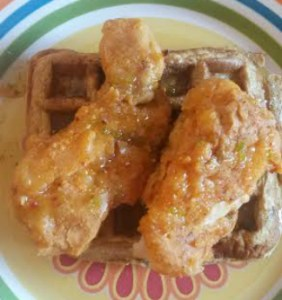 baked fried chicken and waffles