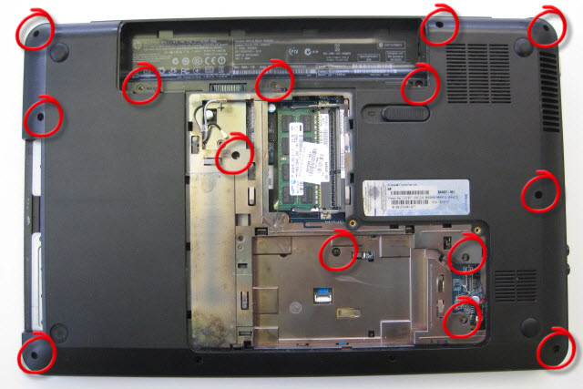 Undo all remaining screws on base of laptop