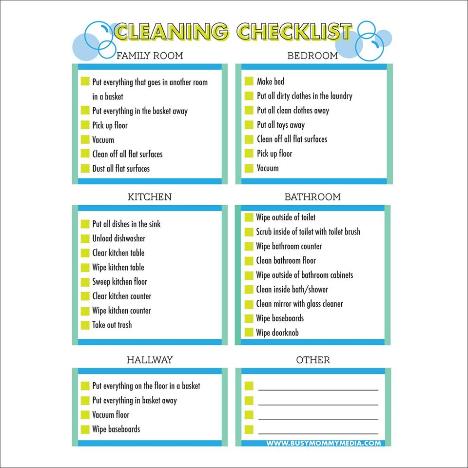 free printable - cleaning checklist for kids