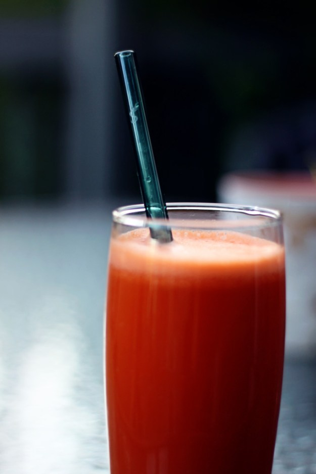 Carrot-apple-celery-ginger juice with my beautiful green straw