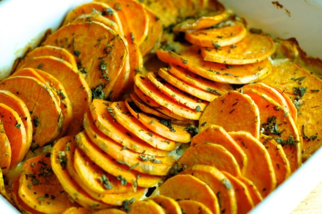 Sweet Potato Gratin with Sage and Garlic