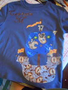 The finished pirate shirt (which, per his mother, gets worn AT LEAST weekly. Yeah!!)
