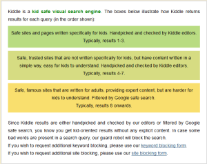 Kiddle's posted criteria for search results