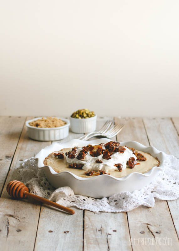 Butterscotch Pie with Vanilla Shortbread Cookie Crust & Honeyed Pistachios // butterlustblog.com