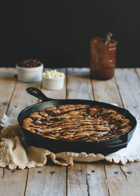 Hot Fudge Brown Butter Skillet Cookie // butterlustblog.com