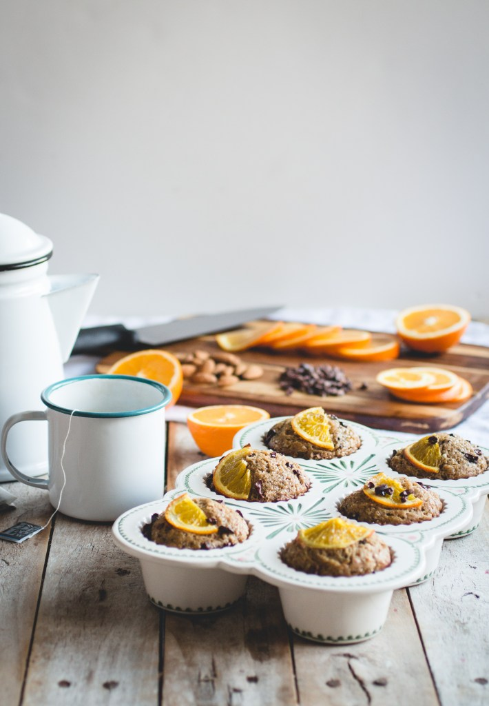 Healthy Orange, Almond & Cocoa Nib Muffins // butterlustblog.com