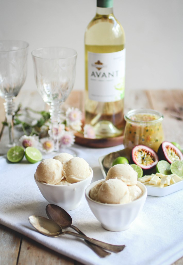 White Chocolate Sorbet with Passion Fruit & Key Lime Topping