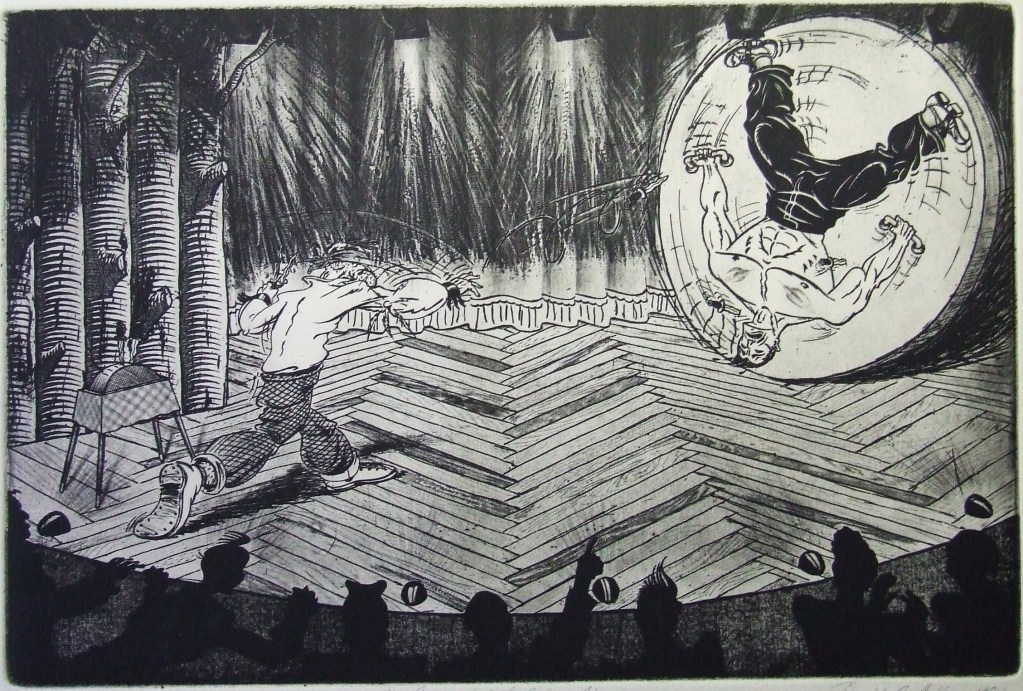 """The Somnambulist Takes Aim""  intaglio 1984"