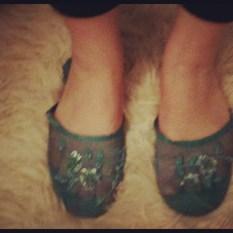 Blue mesh slippers 1