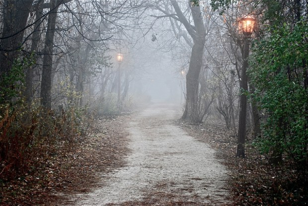 """eerie fog on the prairie path"" image by Flickr user clarkmaxwell"