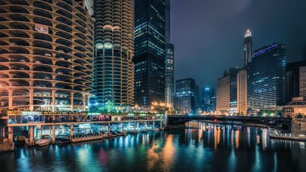 """""""Marina City over the Chicago River"""" image by Flickr user Justin Brown"""