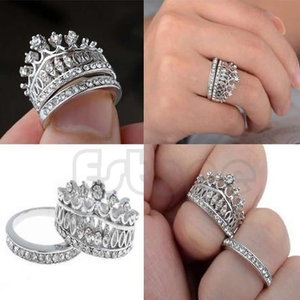 sterling silver diamond crown ring crown wedding rings Hover to zoom