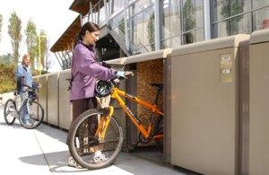 Bike lockers at Rupert station