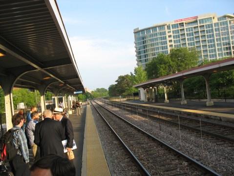 The Metra station platform at Davis.