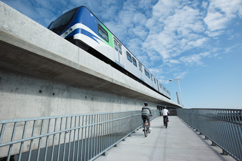 The Canada Line pedestrian-bicycle bridge, approaching from the Vancouver side.