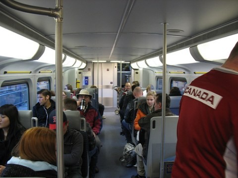 The lower level of a WCE train car.