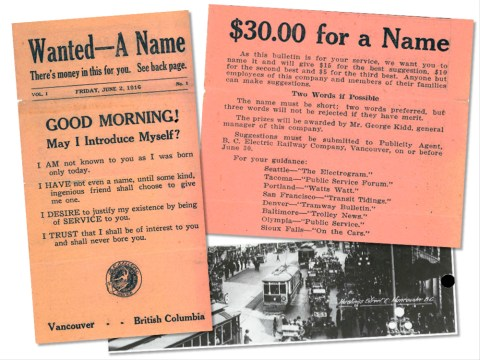 Images of the Buzzer's first issue! At bottom right is a picture of the jitneys, private cars that competed with the streetcar system. Click for a much larger look!