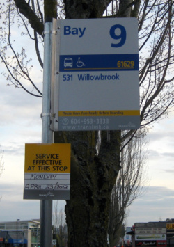 Bus bay 9 at White Rock Centre