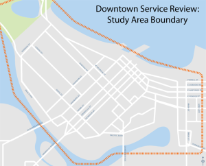 The study area for the Downtown Vancouver Local Bus Service Review.