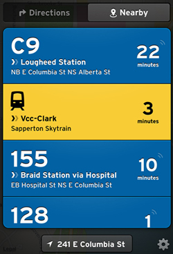 Transit App - the location of TransLink HQ is a little off, but close enough!