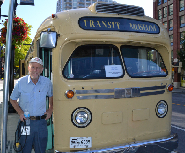 Angus next to a 1957 GMC bus