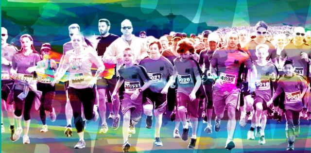 sun run colour graphic