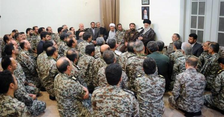 Ayatollah Kamenei talks to troops