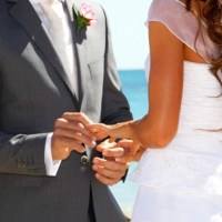 Groom placing a wedding ring on his Brides finger