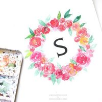 Watercolor Floral Wreath Monogram