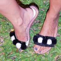 Macacão curto Black White com sandália Pompom