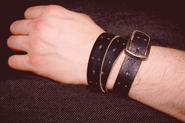 diy - leather belt bracelet men