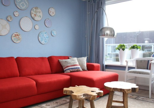 interior design inspiration - blue and red home