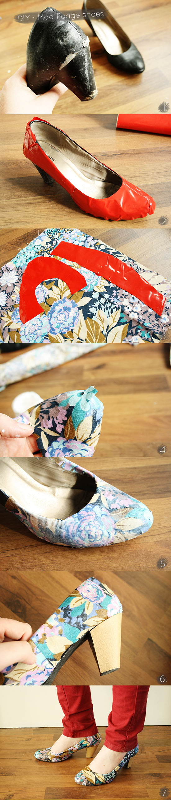 How to Mod Podge fabric on your shoes. An easy way to get the pattern for the fabric just right! @ By Wilma