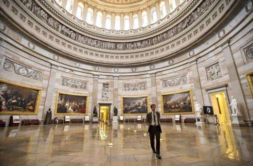 The normally busy US Capitol rotunda was empty on Monday as the government shutdown entered a second week.