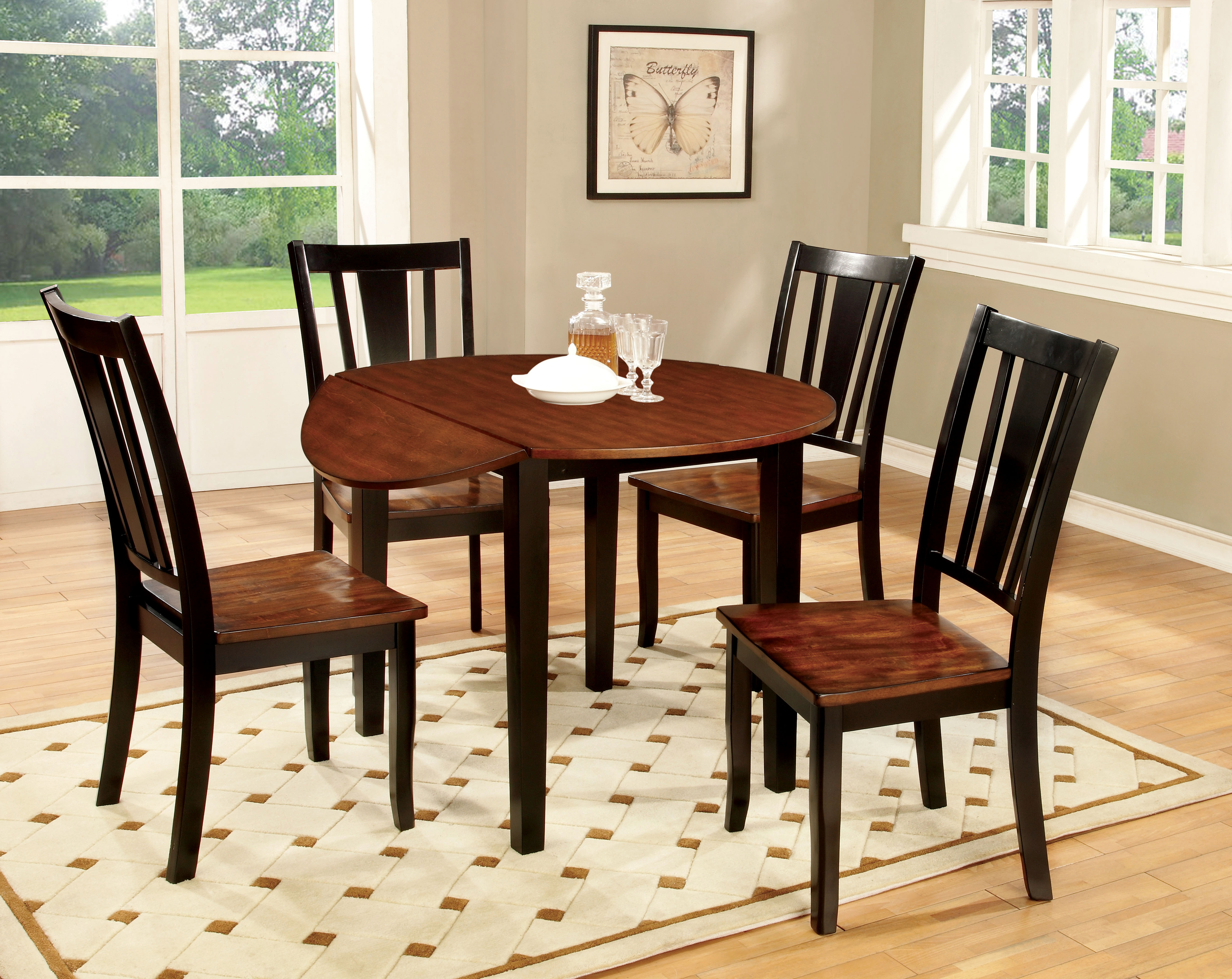 p P two tone kitchen table Furniture of America Two Tone Carmen 5 Piece Round Dining Set Home Furniture Dining Kitchen Furniture Dining Sets Collections