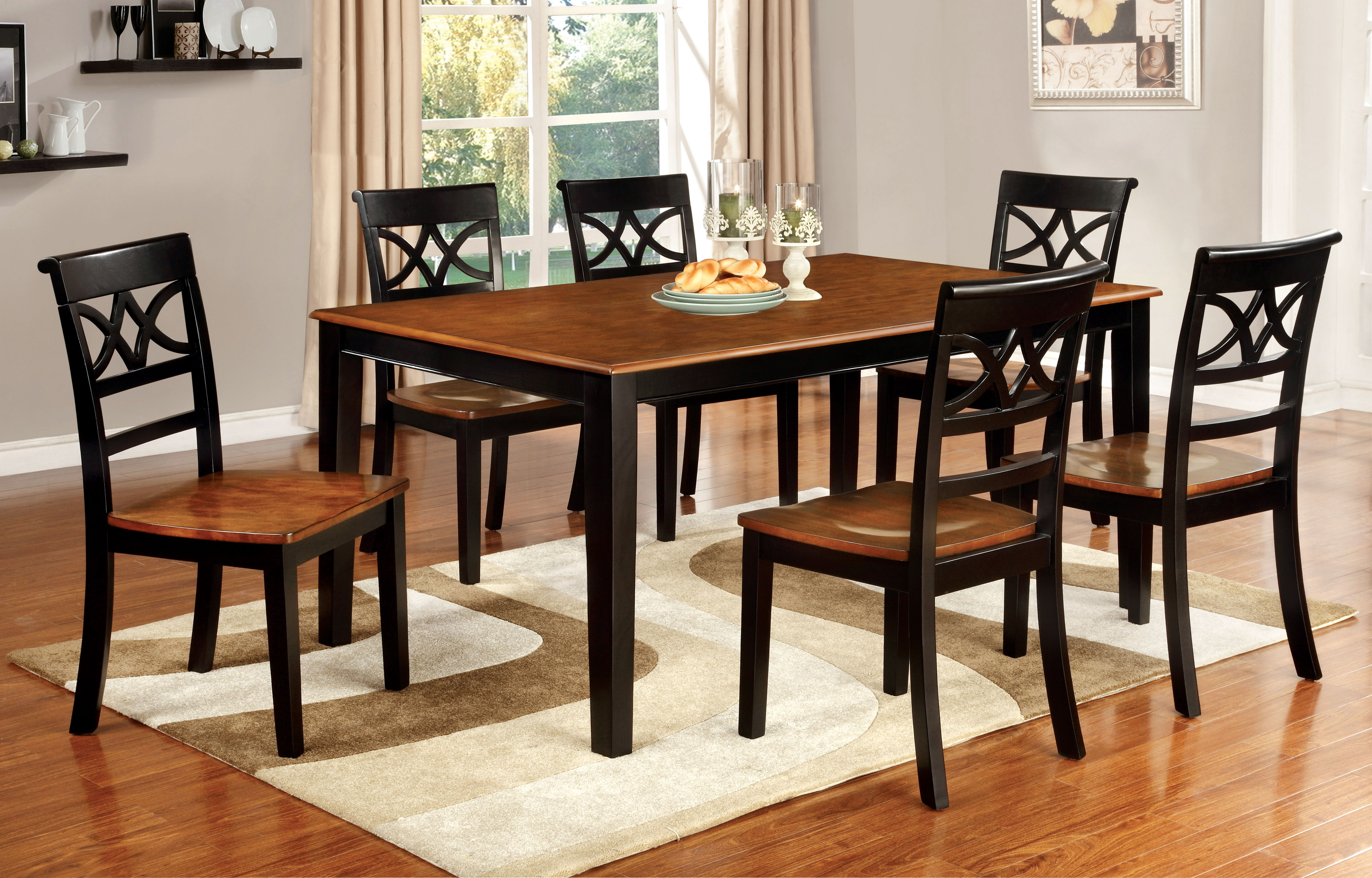 p P two tone kitchen table Furniture of America Two Tone Adelle Country Style Dining Table Home Furniture Dining Kitchen Furniture Dining Tables