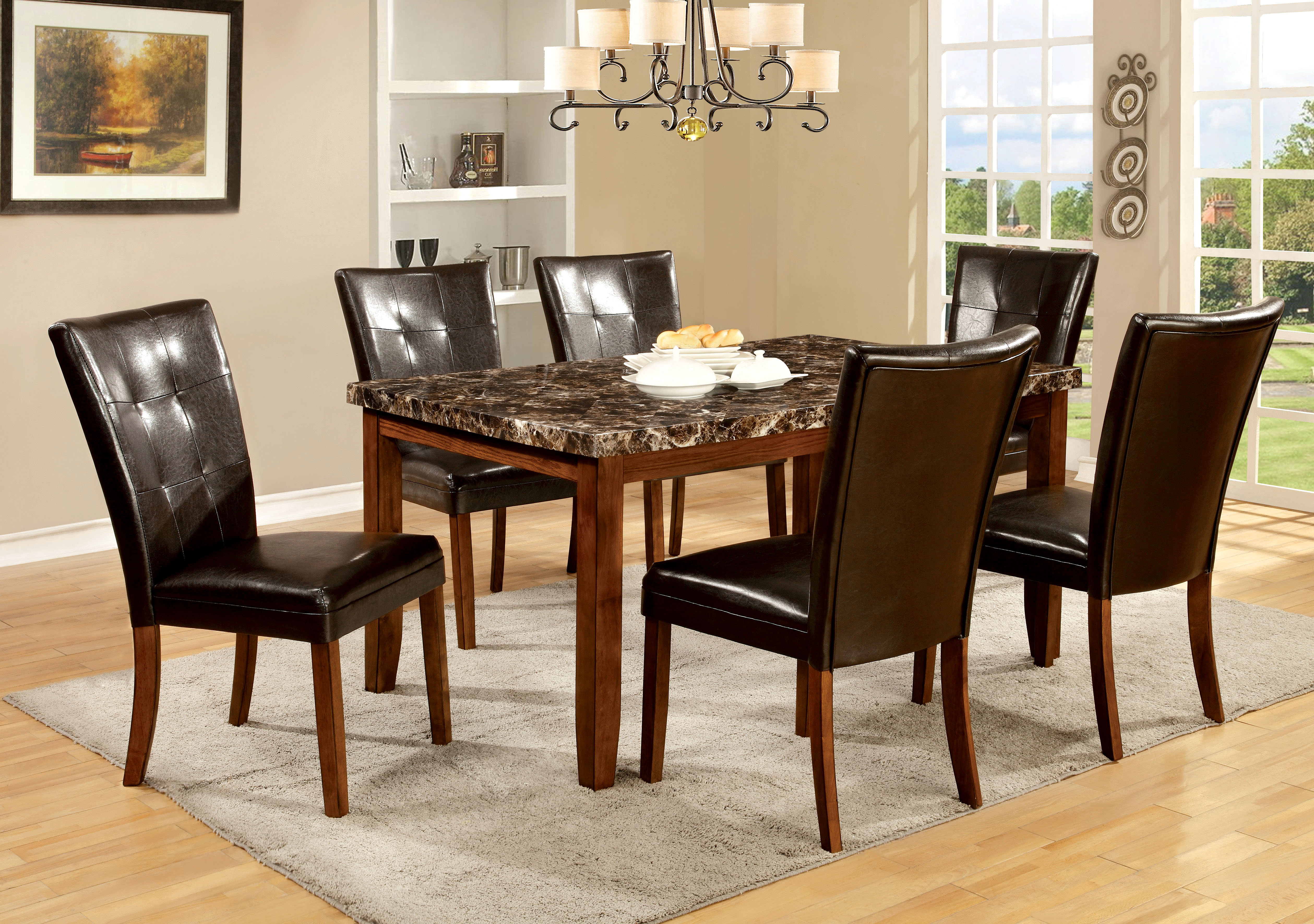 p P kitchen table chairs Furniture of America Mawson Faux Marble 6 Piece Dining Table Set Home Furniture Dining Kitchen Furniture Dining Sets Collections