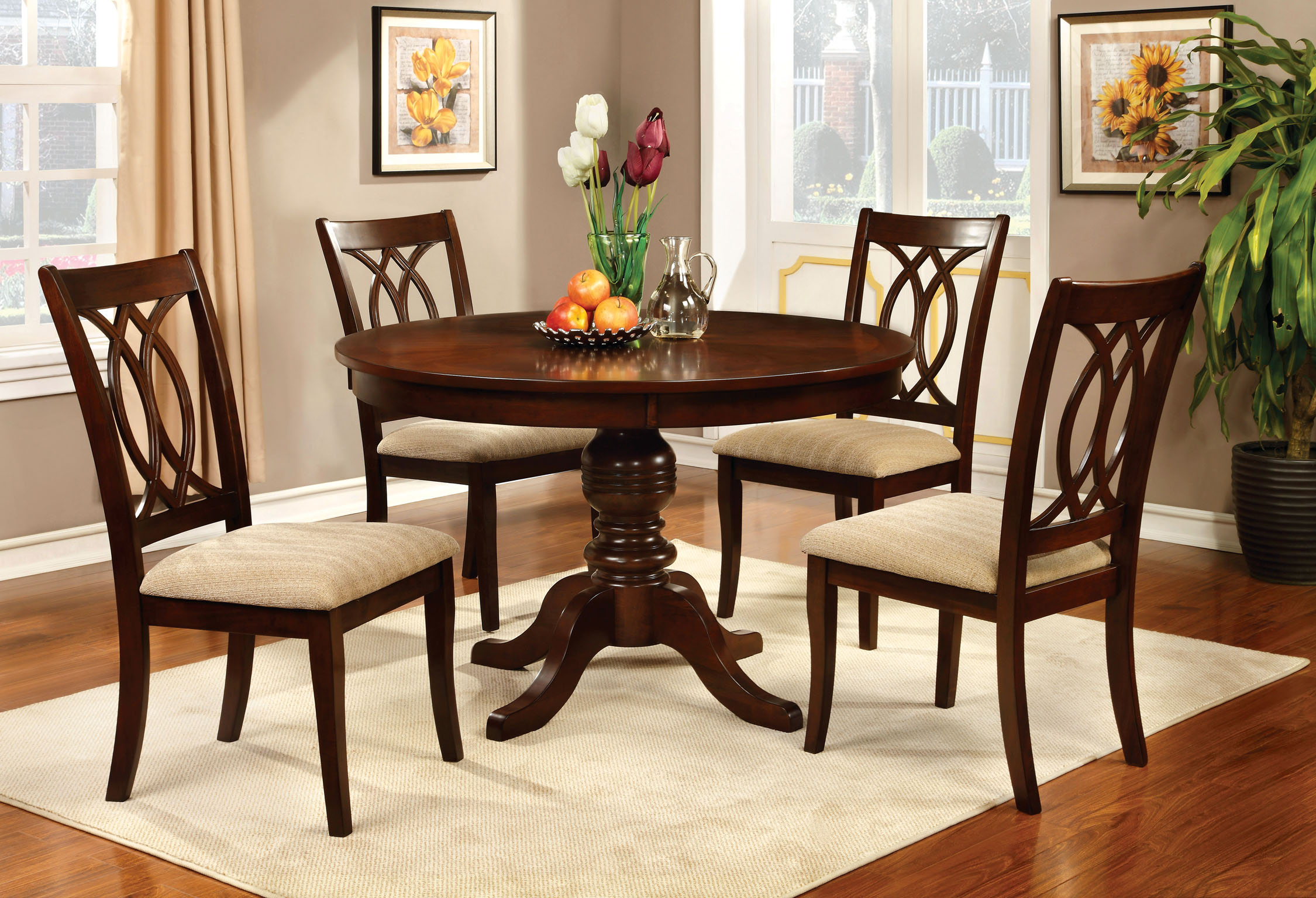 p P wayfair kitchen chairs Furniture of America Brennan 5 Piece Round Brown Cherry Dining Set Home Furniture Dining Kitchen Furniture Dining Sets Collections