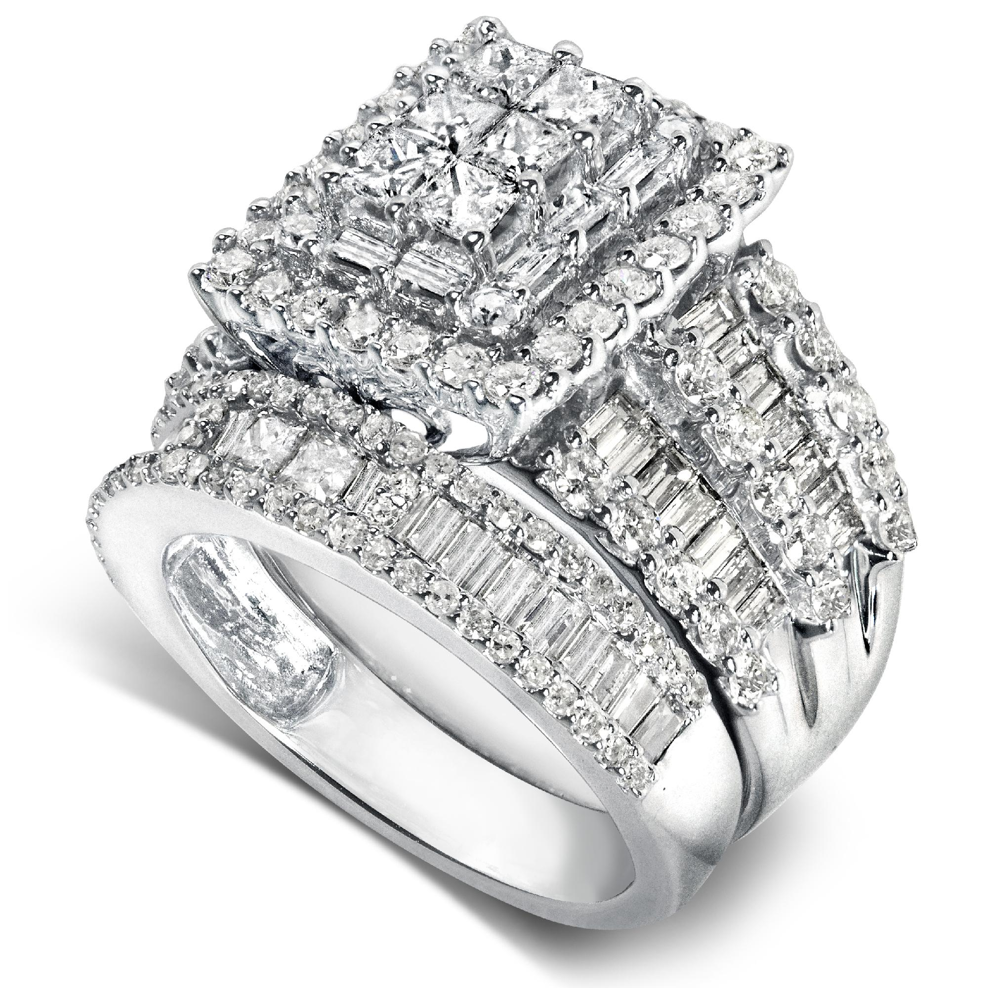 p P sears wedding rings Diamond Me Diamond Engagement Ring and Wedding Band Set 2 4 5 carats ct tw in 14K White Gold Jewelry Rings