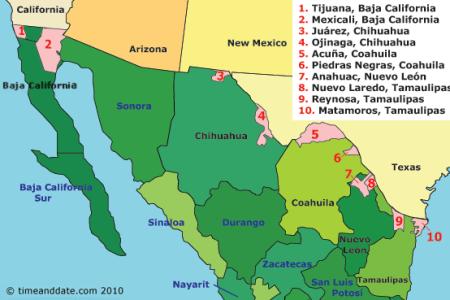 united states mexico border map