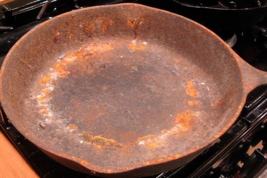 skillet before restoration