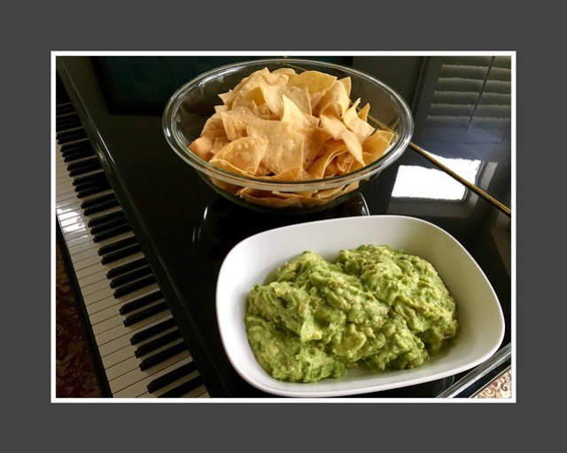 Super Bowl tortilla chips and homemade guacamole.