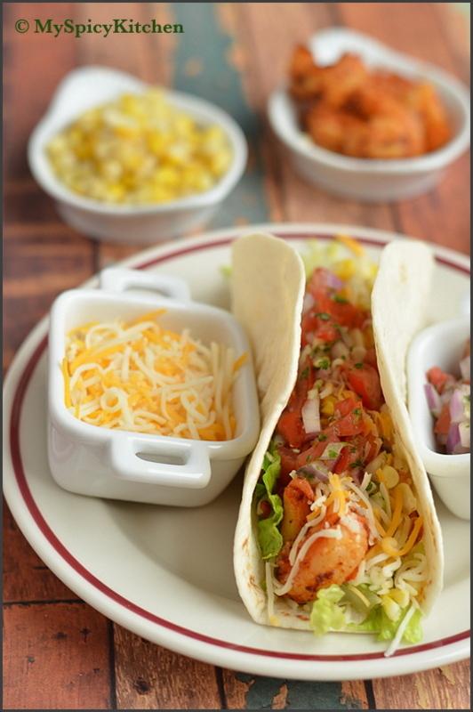 Blogging Marathon, Dishes with Tortillas, Mexican Food, Mexican Cuisine, Shrimp Corn Tacos