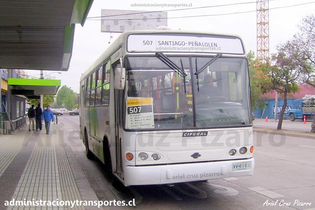 Transantiago 507 | Buses Metropolitana | Ciferal Turquesa - Mercedes Benz / VV6161