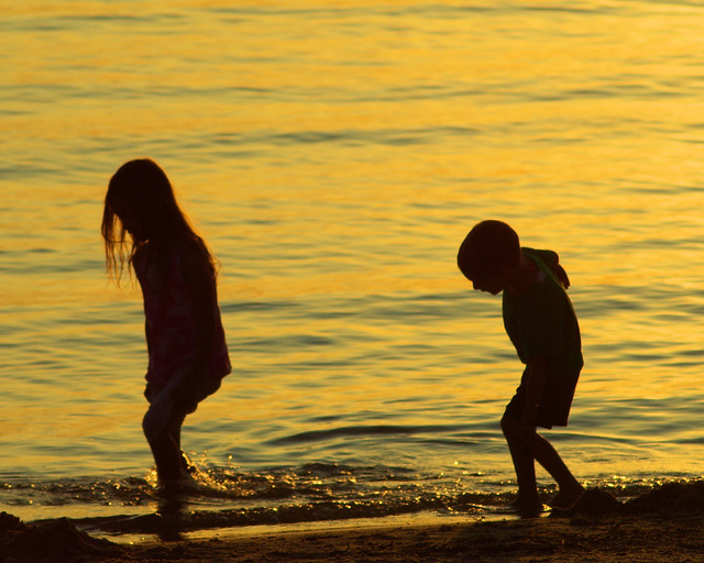 Unidentified children wading along Sandy Cove, beach, Canton Lake, Oklahoma, August 29, 2009