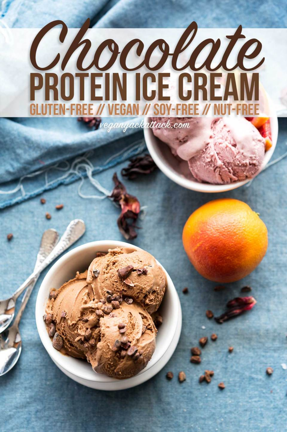 This ultra-creamy, Chocolate Protein Ice Cream is dairy-free, soy-free, nut-free and has a secret and totally unexpected ingredient - split peas! Plus, there's a no-churn option! #vegan #glutenfree #recipe