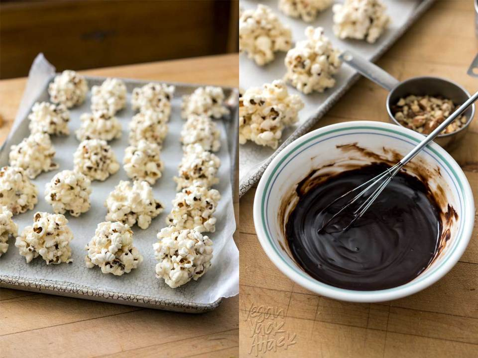 Rocky Road Popcorn Clusters are a wonderfully easy treat to make for holiday festivities, or as gifts for the sweet lovers in your life! Chewy, chocolate-covered, with toasted almonds and salt, what's not to love? #vegan #glutenfree